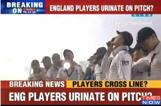 Accused: England players celebrate Ashes win by urinating on Oval pitch 5 hours after the match during celebrations.